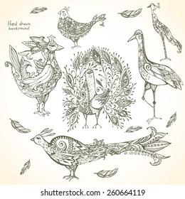 Set of decorative tribal birds