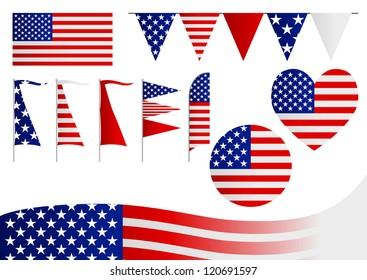 A set of decorative USA flag