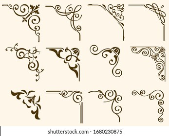 Set Of decorative Vector Corner Framers Isolated On A White Background.