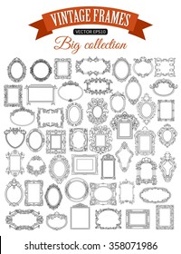 Set of decorative vector frame with place for text. Vintage border.