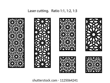 Set of decorative vector panels for laser cutting. Template for interior partition in arabesque style. Aspect ratio 1:1,1:2,1:3