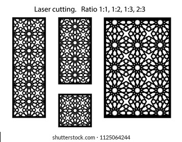 Set of decorative vector panels for laser cutting. Template for interior partition in arabesque style. Aspect ratio 1:1,1:2,1:3,2:3