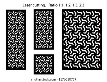 Set of decorative vector panels for laser cutting. Template for interior partition in arabesque style. Ratio 1:1,1:2,1:3,2:3
