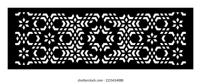 Set of decorative vector panels for laser cutting. Template for interior partition in arabesque style. Ratio 1:3