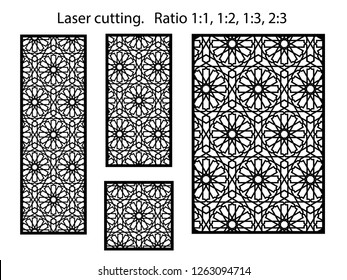 Set of decorative vector panels for laser cutting. Template for interior partition in arabesque style