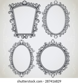 set of decorative vintage design elements