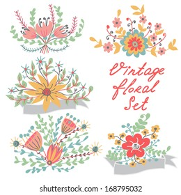 Set with decorative vintage flowers, vector