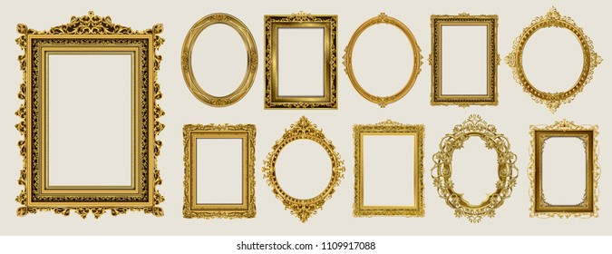 Set of Decorative vintage frames and borders set,Oval Gold photo frame with corner Thailand line floral for picture, Vector design decoration pattern style. border design is pattern Thai art style