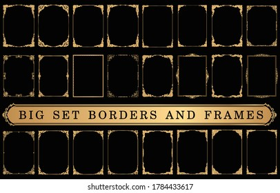 Set of Decorative vintage frames and borders on Black bacground, Gold photo frame with corner Thailand line floral for picture, Vector design decoration pattern style
