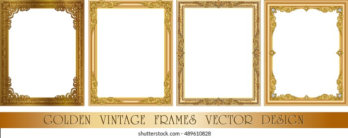 Set of Decorative vintage frames and borders set,Gold photo frame with corner thailand line floral for picture, Vector design decoration pattern style. border design is pattern Thai style
