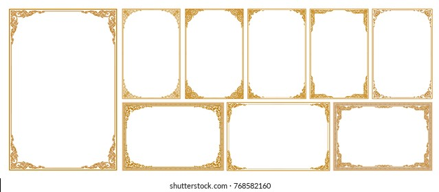 Set of Decorative vintage frames and borders set,Gold photo frame with corner Thailand line floral for picture, Vector design decoration pattern style. border design is pattern Thai art style