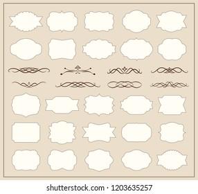 Set of decorative vintage frames and calligraphic design elements. VEctor illustration.