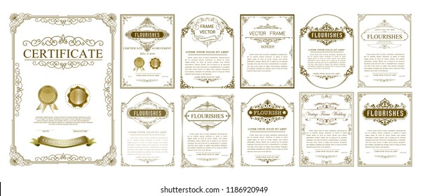 Set of Decorative vintage frames and Certificate borders set,Gold photo frame with corner Thailand line floral for picture, Vector design decoration pattern style. border design is pattern