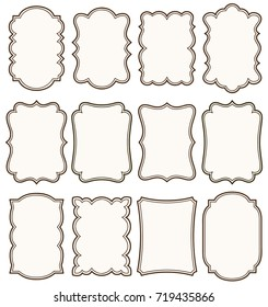 Set of decorative vintage tags, frames for scrapbook and wedding invitation design. Vector labels