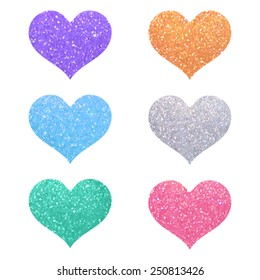Set of decorative violet, pink, gold, green, blue, silver glitter texture isolated hearts on white background. Romantic shiny icons with sparkles for valentine's day, design, card, scrapbook, party.