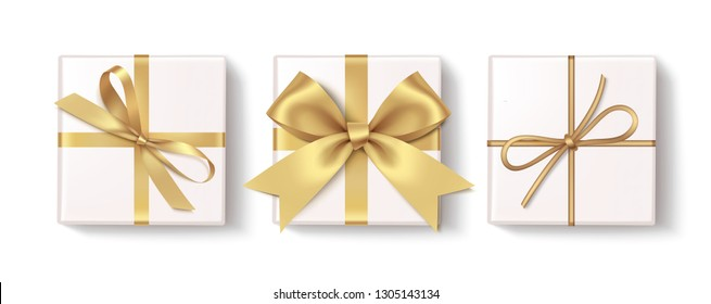 Set of decorative white gift boxes with golden bow and ribbon isolated on white background. Top view. Vector illustration
