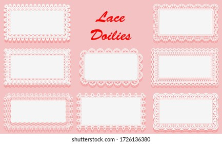 Set of Decorative White lace Doilies. Openwork rectangular frame on a pink background. Vintage Paper Cutout Design. Vector illustration