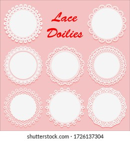 Set of Decorative White lace Doilies. Openwork round frame on a pink background. Vintage Paper Cutout Design. Vector illustration