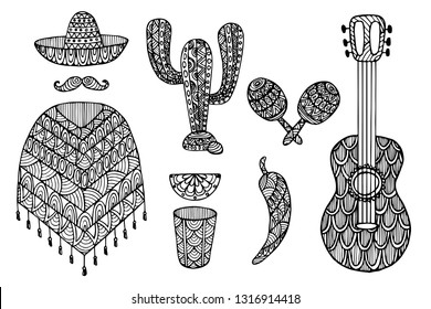 Set of decorative zentangle elements Mexico. Vector template for decorating greeting cards, coloring books, art therapy, anti stress, print for t-shirt and textile.