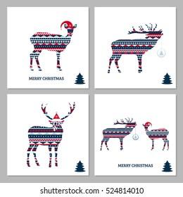 Set of deer cards. Merry Christmas!