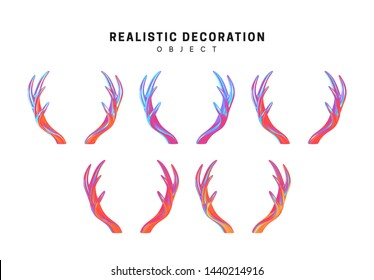 Set of deer and elk antlers with gradient holographic color of holograms. Decorative design elements. Realistic shape 3d objects. vector illustration isolated on white background