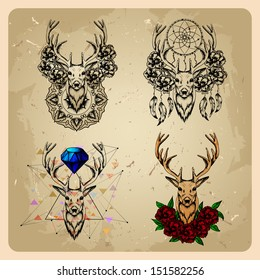 set Deer with flowers and dream catcher and flowers