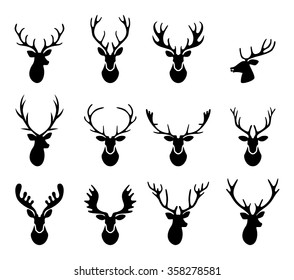 Set of a deer head silhouette on white background.