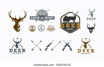 Set of Deer Hunt logo designs vector, Badge of Deer Hunt logo collection