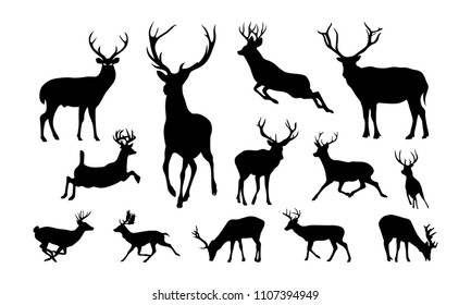 Set of Deer Illustration silhouette vector