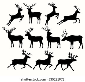 Set of deer silhouettes isolated on white, EPS 8.
