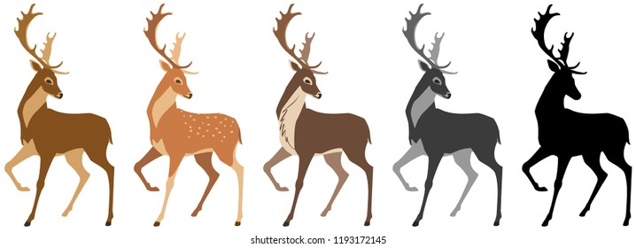 set of deer. Deer, spotted deer, reindeer, black and white silhouette. Isolated objects, windy illustration.