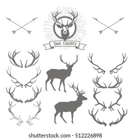 Set of deers  silhouette, deer head and antlers. Deer logo, badge templates and design elements. Vector illustration