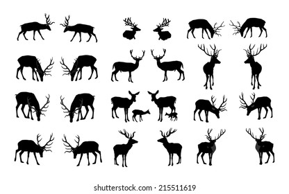 Set of deers vector silhouette illustration, isolated on white background. Group of 26 deers vector.