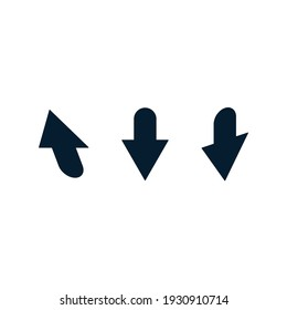 A set of deformed, asymmetric arrows, cursors. Vector icon isolated on white background.