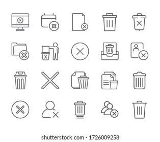 Set of delete Related Vector Line Icons. - vector