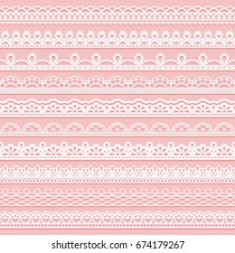 Set of delicate lace borders for design. White seamless ribbons on a pink background. Vector illustration.