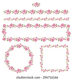 Set of delicate pattern brushes and frames