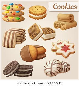 Set of delicious cookies. Cartoon vector illustration. Food sweet icons.