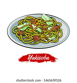 Set of delicious and famous food of Japanese,Yakisoba,in colorful gradient design icon,vector illustration