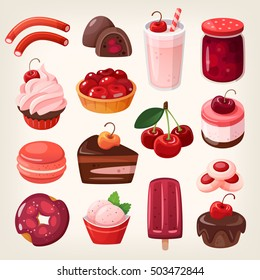 Set of delicious fruit sweets and desserts. Cherry flavored pie and cake with fruit on top. Bright red and white sweet cherry pie and fruit ice cream. Isolated vector dessert icons