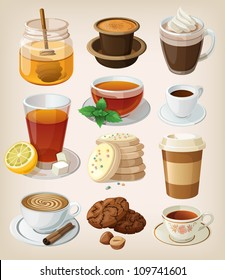 Set of delicious hot drinks: coffee, tea and supplies. Isolated.