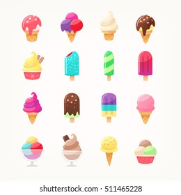 Set of delicious ice cream icons. Vector ice cones popsicles and ice cream balls in cups. Kids favorite dairy desserts with sundae and sprinkled topping. Fruit and chocolate flavors