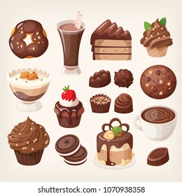 Set of delicious sweet chocolate treats and desserts made of chocolate. Vector images.