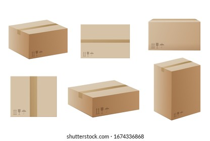 Set of delivery carton containers or mail boxes, realistic vector mockup illustration isolated on white background. Shipping parcel packaging templates collection.