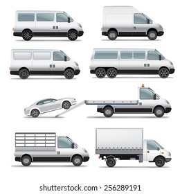 Set of delivery and commercial van silhouettes. Vector illustration
