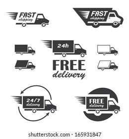 Set of delivery icons with trucks in vector