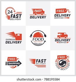 Set of delivery labels for online shopping. Worldwide shipping, Delivery signs and logo. Signs and labels free delivery. Fast delivering text sign. Shipping icons. Food delivery design