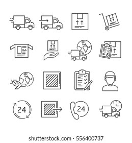Set of delivery and logistics Related Vector Line Icons. Includes such Icons as logistics, shipping, cargo, truck, parcel, courier, shipping, aircraft transportation, invoice