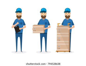 set of delivery man with cardboard box. Postman in cap isolated on white background. Courier in hat and uniform with package. Vector illustration. Flat cartoon character