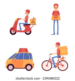 Set of delivery men standing and riding on vehicles cartoon style, vector illustration isolated on white background. Food service courier holding pizza box and driving on scooter and bicycle and car